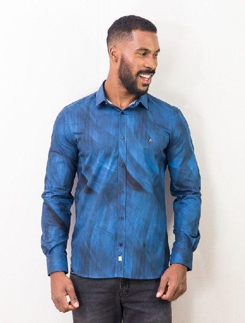 Camisa Super Slim Night Vivo Estampa Abstrato Azul