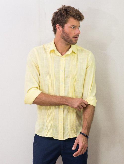 Camisa Jeanswear Slim Nervuras Amarelo