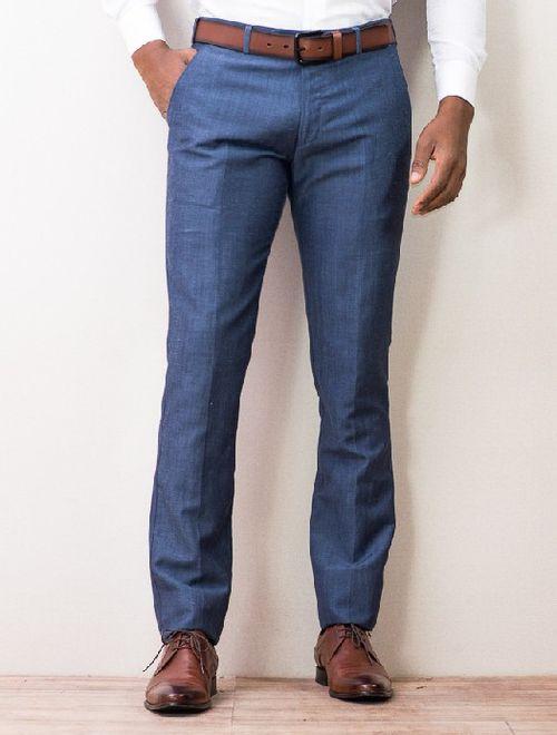 Calça Menswear Chino Linho Rústico Azul