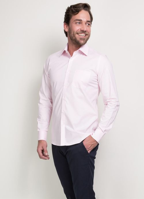 Camisa Social Super Slim Colarinho Tradicional Rosa