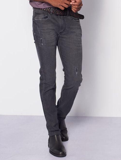 Calça Jeans Super Slim Com Patch Cinza