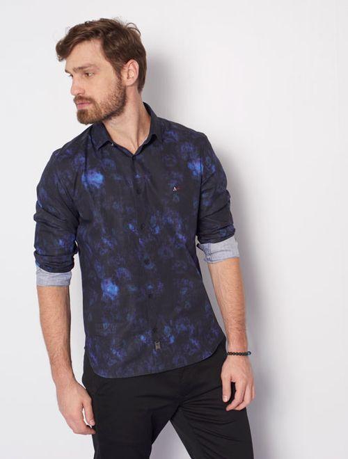 Camisa Super Slim Night Nuances Marinho