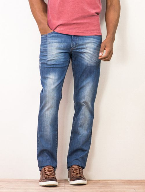 Calça Jeans Slim Puído Azul