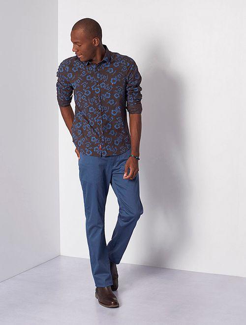 Camisa Super Slim Jeanswear Floral Café