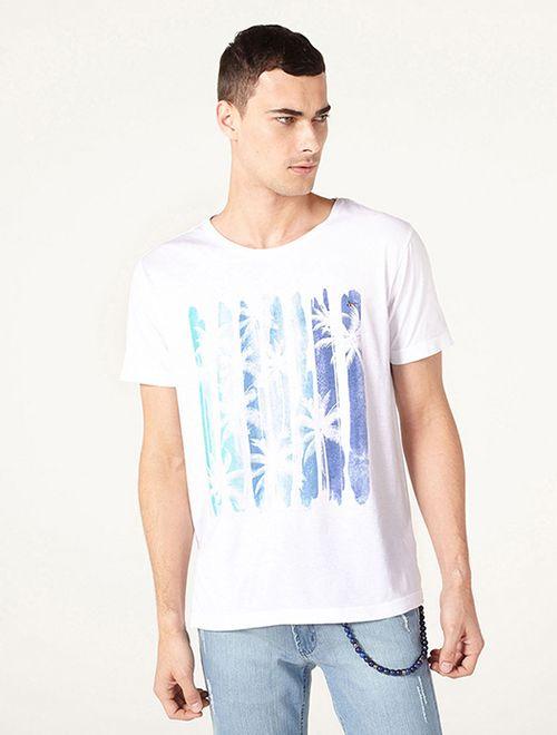 Camiseta Praia Listrada Turquesa