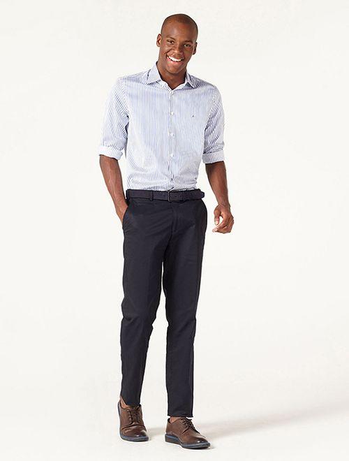Camisa Menswear Fio 60 Listrado Azul Branco
