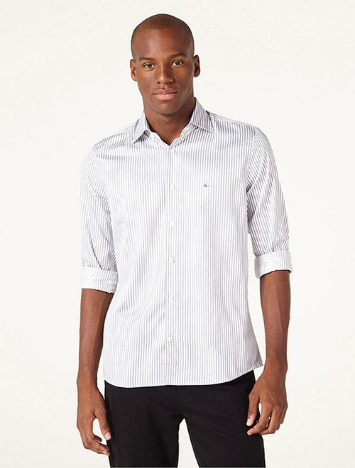 Camisa Menswear Fio 60 Listrado Branco