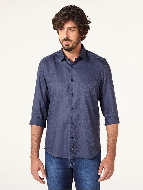 Camisa Night Super Slim Floral Fio 60 Marinho
