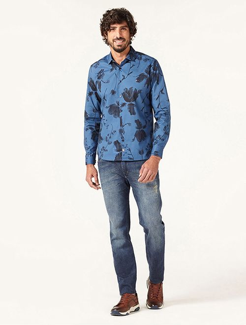 Camisa Night Super Slim Aquarela Navy Azul
