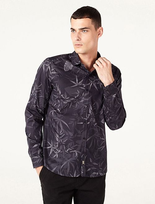 Camisa Night Super Slim Folhagem Preto