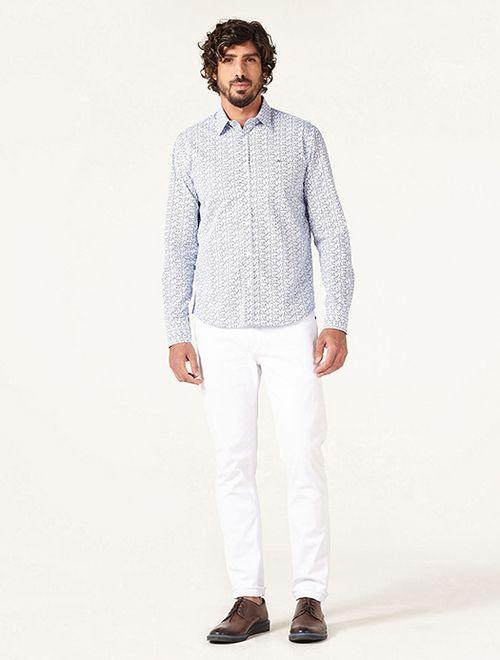 Camisa Menswear Slim Micro Floral Azul