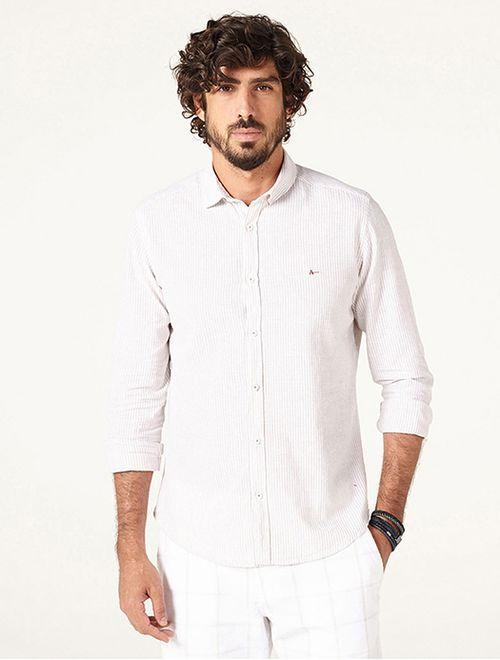 Camisa Jeanswear Slim Listrada Areia