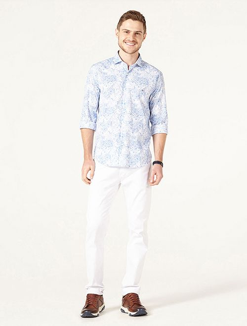 Camisa Slim Jeanswear Floral Degradê Azul