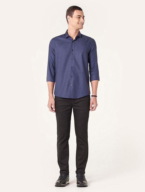 Camisa Menswear Jacquard Geo Azul