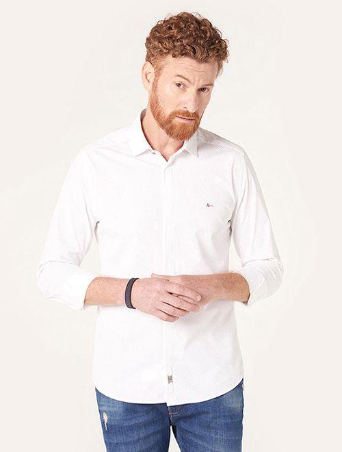 Camisa Super Slim Night Pontilhado Branco