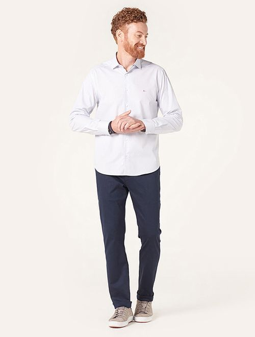 Camisa Menswear Slim Gola Trento Poá Branco