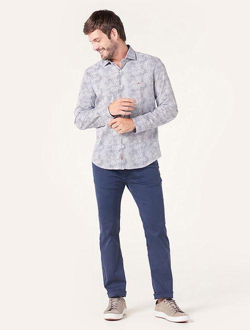 Camisa Menswear Slim Gola Trento Scales Marinho