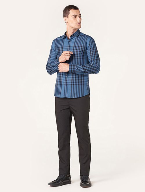Camisa Menswear Slim Xadrez Rapport Azul