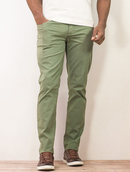 Calça Slim Color 5 Pockets Tinturada Com Cadarço Verde