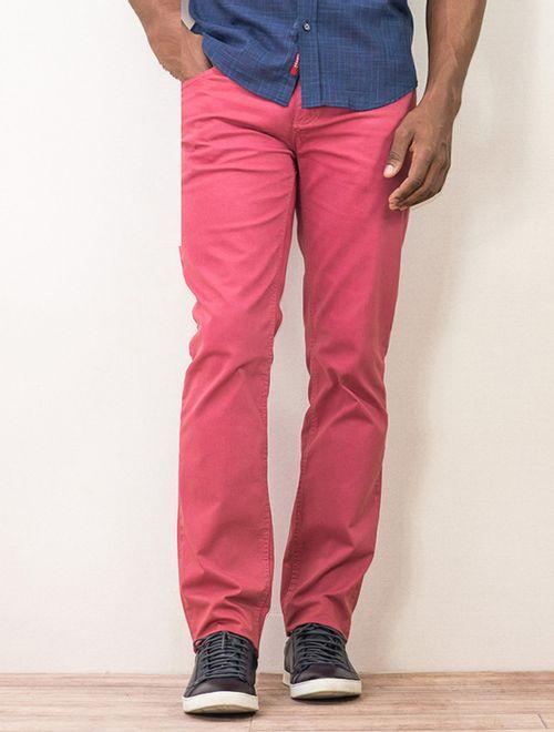Calça Slim Color 5 Pockets Tinturada Com Cadarço Rosa