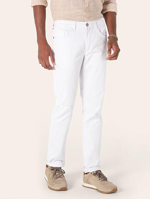 Calça Slim Color Puídos Branco