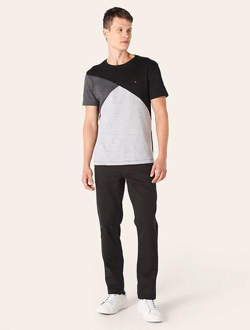 Calça Slim Color Puídos Preto