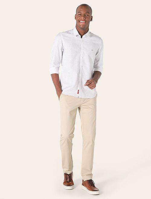 Calça Menswear Maquinetado Listrado Areia