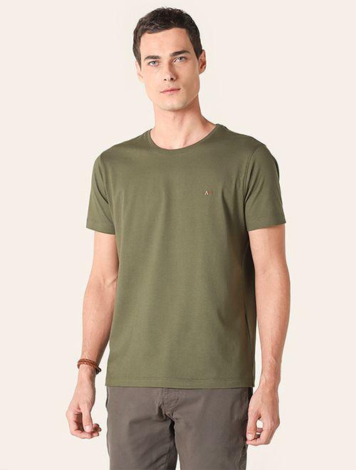 Camiseta Manga Curta Malha Lisa Verde Medio