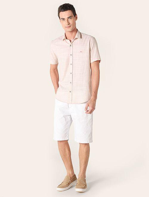 Camisa Jeanswear Slim Micro Xadrez Cáqui