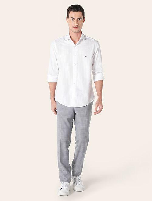 Camisa Manga Longa Listrada Algodão Egípcio Regular Branco