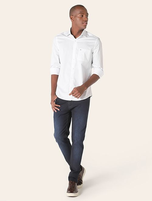 Camisa z Menswear Giza Cotton Dobby Branco