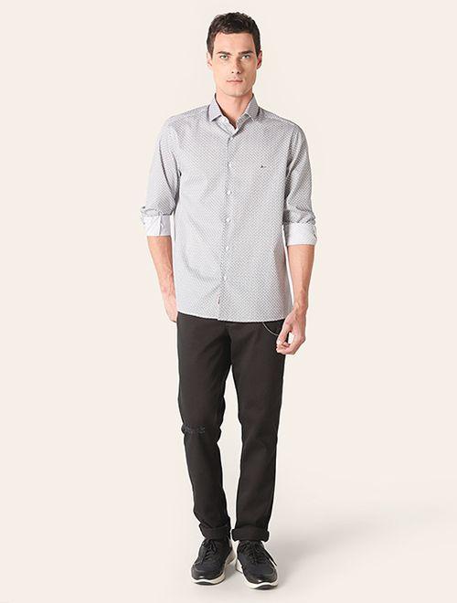 Camisa Menswear Entrelaçado Branco