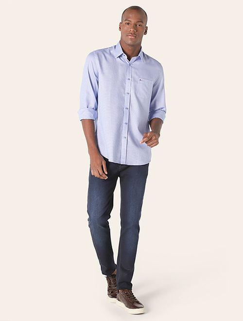 Camisa Social Colarinho Tradicional Azul