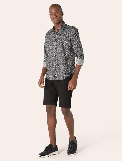 Camisa Menswear Slim Floral Shades Preto