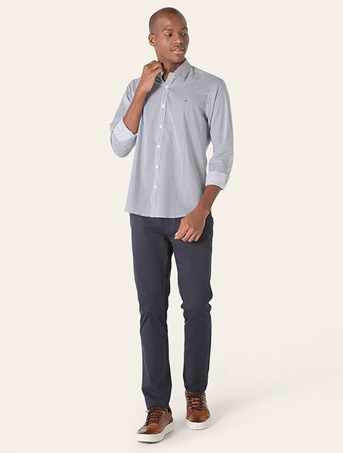 Camisa Manga Longa Estampada Slim Jeanswear Azul