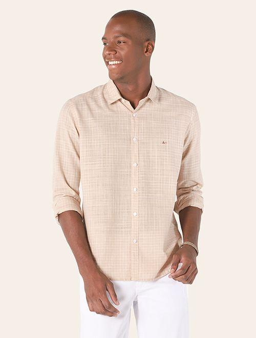 Camisa Jeanswear Slim Ponto Picado Areia