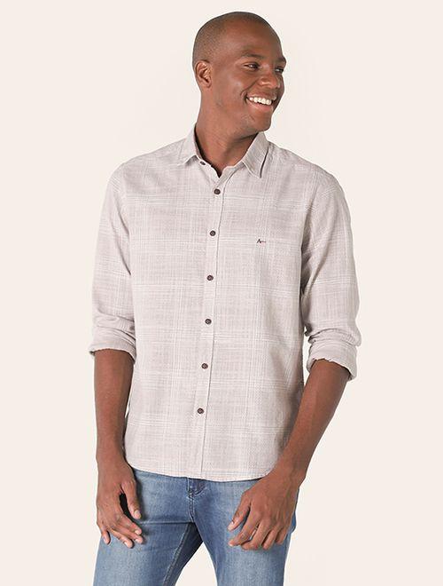 Camisa Jeanswear Slim Losangos Pontilhados Areia