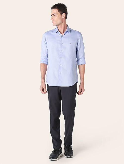 Camisa Social Super Slim Colarinho Trento Azul