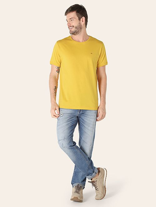 Camiseta Básica De Algodão Pima Amarelo