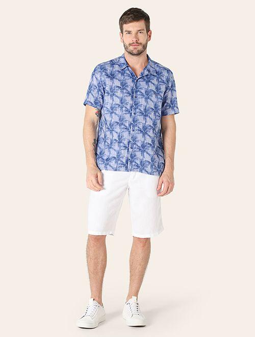 Camisa Manga Curta Estampada Slim Resort Lavanda