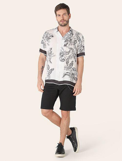 Camisa Menswear Slim Rapport Hibiscos Branco
