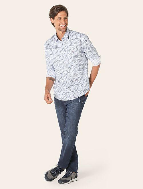 Camisa Menswear Slim Flor Azul Azul