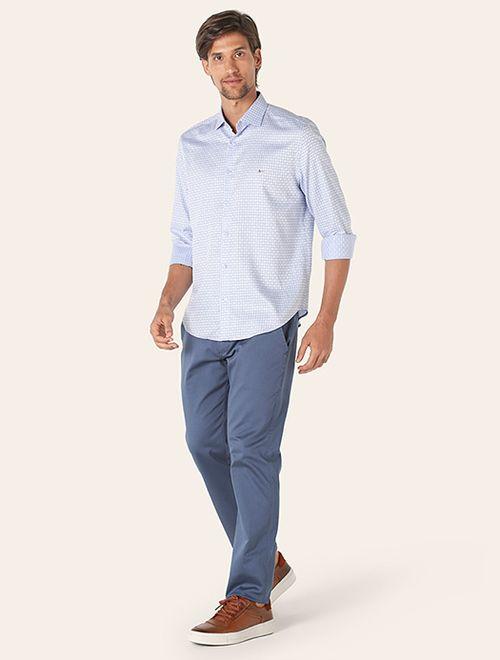 Camisa Menswear Slim Xadrez Azul