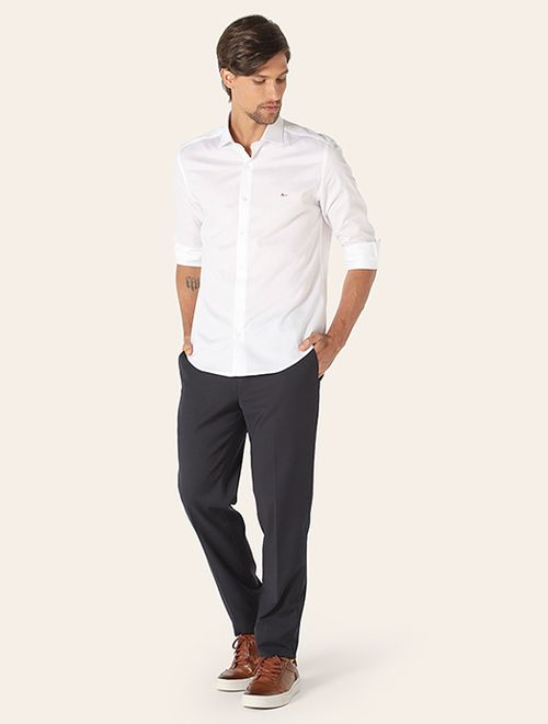 Camisa Menswear Slim Maquinetada Branco