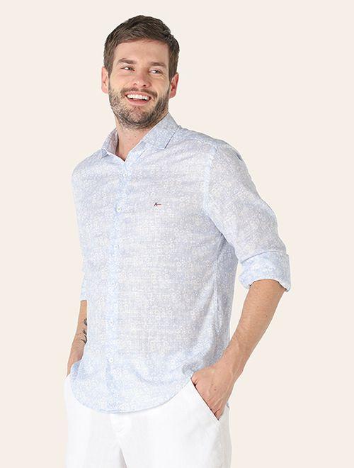 Camisa Jeanswear Slim Flor Azul