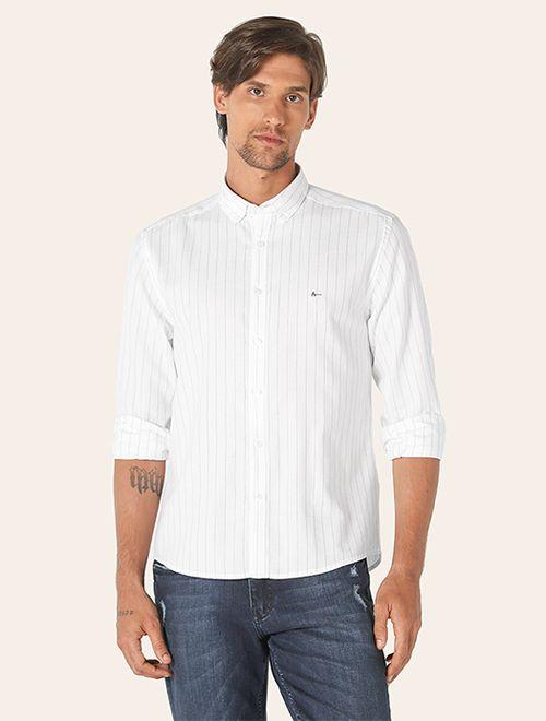 Camisa Jeanswear Slim Button Down Listrada Branco