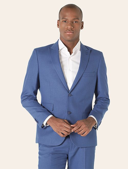 Costume Super Slim Com Cinto Poliviscose Azul