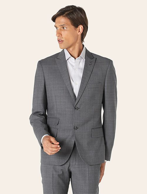 Costume Lã Super 120 Slim Xadrez Cinza