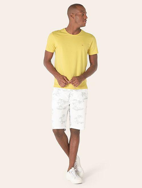 Camiseta Lisa Manga Curta Malha Amarelo
