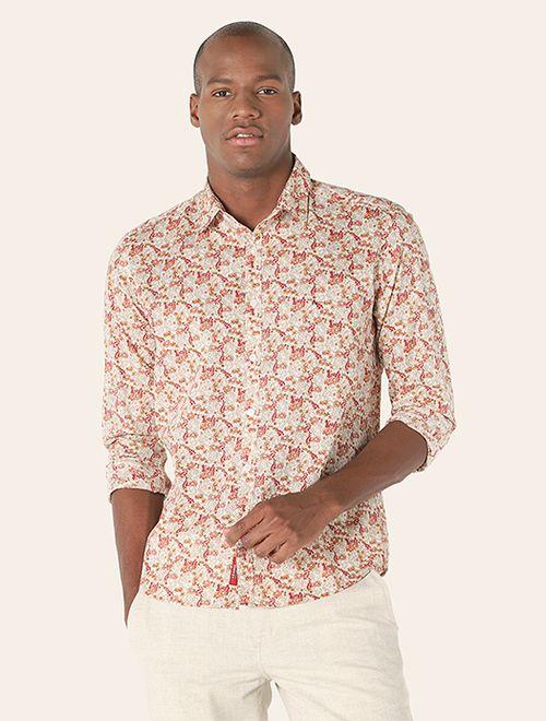 Camisa Manga Longa Floral Slim Jeanswear Vermelho
